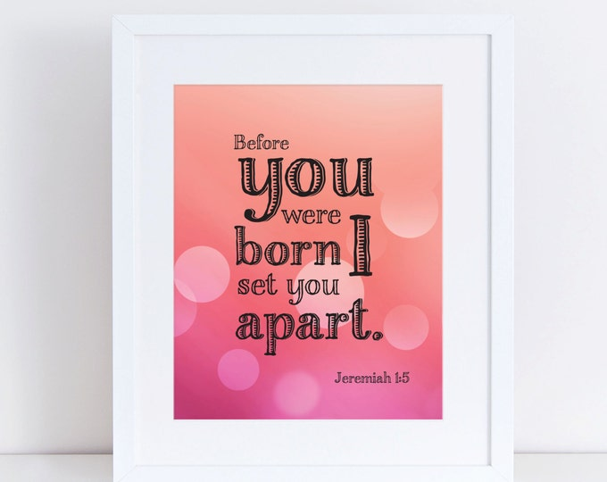 Jeremiah 1:5 Scripture Pink Wall Art Instant Download 8x10