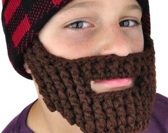 Knit Beard Face Mask - Brown