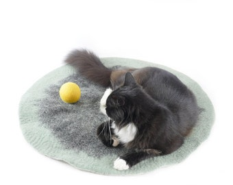 Green felt cat mat