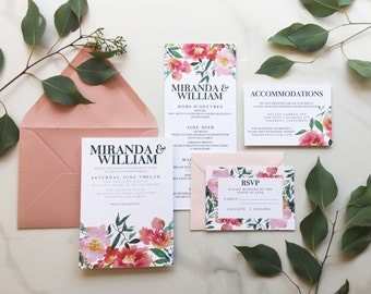 Watercolor Pink Floral Invitation, Flower Invitation, Pink Floral Invitation, Pink and Peach Floral Invitation, Garden Invitation - DEPOSIT