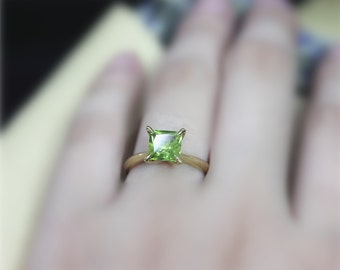 August Birthstone Ring, Real Peridot Ring, Princess Peridot Engagement Ring , Solid 14K Yellow Gold Ring,Solid Gold Anniversary Ring