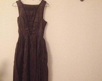 1950's black silk dress size xs