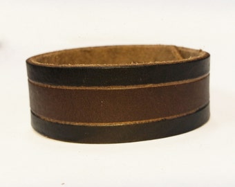 Handmade Genuine Leather Cuff / Men's Accessories / Women's Leather Bracelet / Vintage Wrist Band With Snaps / High Quality / Custom Jewelry