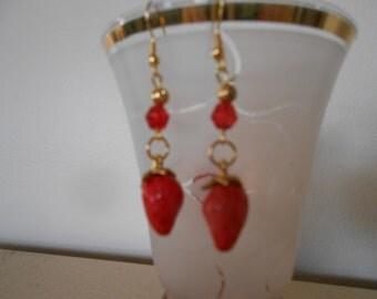 Earrings 142 Golden Strawberries