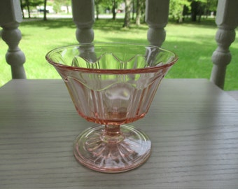 "Pink 3 3/8"" Colonial ""Knife and Fork"" Hocking Glass Company Sherbert Dish"