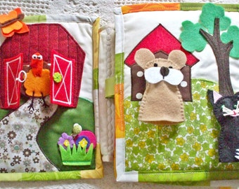 Quiet book for boys and girls soft toy activity games to discover a farm with animals finger toy