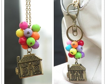 Colorful balloon Necklace Beadwork Necklace Flying House Flying Dreams Up Locket Necklace Colorful balloons Keychain Sale Now