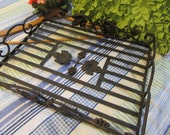 Serving Tray Heavy Iron Vintage Large With Grapes and Leaves as Accents Centerpiece Outdoor Candle or Potted Plant Holder Gift Home Decor