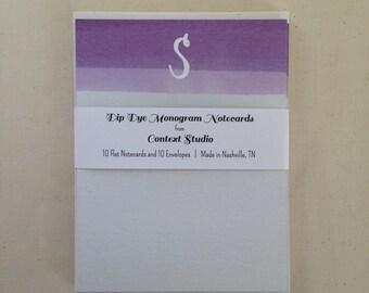 Monogram Notecard Set of 10 with Envelopes, S, Dip Dye