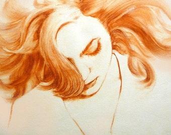 Introspective, giclee print, fashion illustration, fashion print, figure painting, print of original fine art, fashion drawing, woman, hair
