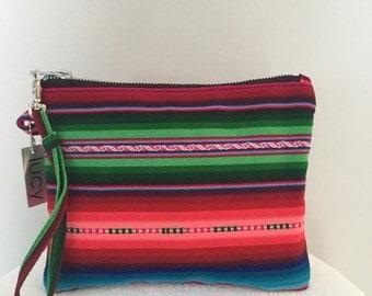 Handmade Bolivia print wristlet bag