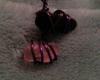 Wire Wrapped Obsidian and Rose Quartz Pendant