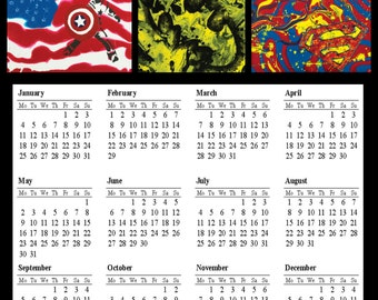 2016 Wall Calendar - Captain America, Batman, Superman