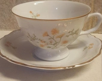 Vintage, WALBRZYCH Made In Poland.  Yellow And White Floral Design, Teacup /Coffee & Saucer.