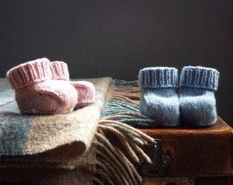 baby booties knitting kit in softest merino, alpaca or cashmere yarn