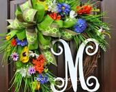 Summer flowers~Monogram wreath~Summer Wreath~wildflower wreath~wreath with monogram~spring wreath~door wreath~poppies~front door wreaths