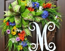 Mixed flowers~Monogram wreath~Summer Wreath~wildflower wreath~wreath with monogram~spring wreath~door wreath~poppies~front door wreaths