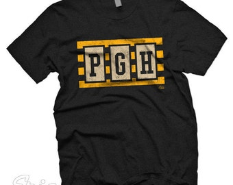 Erie Apparel PGH Pittsburgh Steel Stripes T-shirt available from XS to Lg