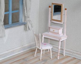 Handmade Dressing Table with Chair Miniature 1:6 Pullip Blythe Momoko Barbie BJD Lati