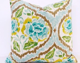 Ikat Floral Geometric Pillow Cover - 18 x 18