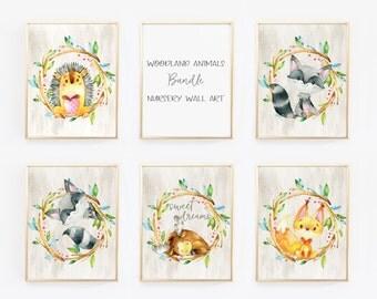 Bundle Nursery Wall Art, Nursery Decor, Woodland Nursery, Woodland Animals, Set of 5, Baby Gift, Woodland Nursery Printable Art, Nursery art