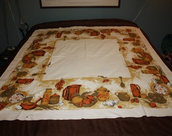 Harvest gold print tablecloth