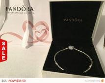 PANDORA Pave Heart Snake Chain Bracelet..Great Mothers Day Gift