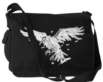 Gothic Raven of Death Canvas Laptop Bag Messenger Bag