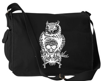 Skull Owl Canvas Laptop Bag Messenger Bag
