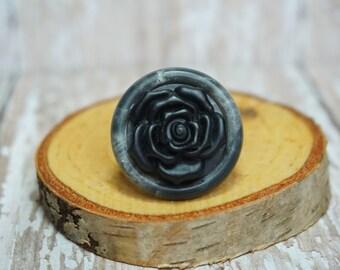 Black Flower Button Ring