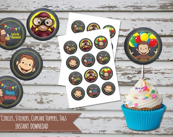 Curious George Cupcake Toppers Curious George Party Supplies Curious George Cake Topper  Curious George Favor Tags INSTANT DOWNLOAD