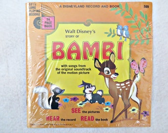 Disneyland Record & Book Story of Bambi Songs Bambi Record 309 Vintage Bambi Record 1966