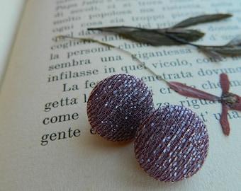 Purple earrings, stud earrings, earrings fabric, vintage earrings, purple and silver