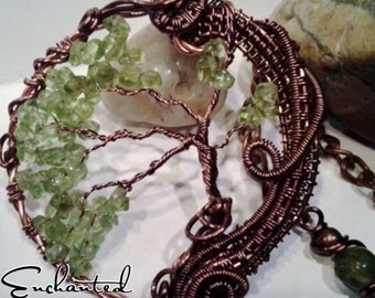 Wire wrapped Tree of Life Copper  pendant. Peridot gemstones.  Handmade necklace