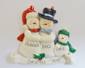 Personalized Snow Family of 3 Ornament