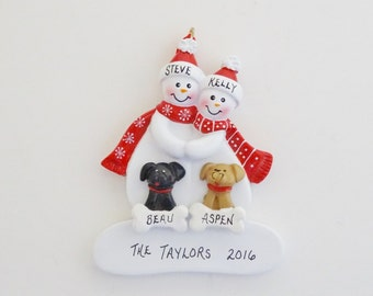 Snow Couple Personalized Christmas Ornament with 2 Custom Dogs or Cats - Personalized Couple Ornament with 2 Dogs - 2 Cats - 1 Dog and 1 Cat