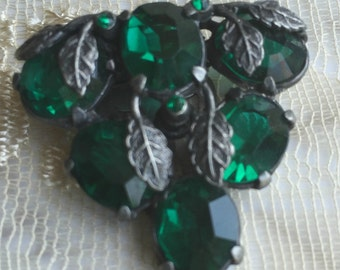 Green Dress Clip, 1940s Dress Clip, Emerald Green and Silver Tone Brooch