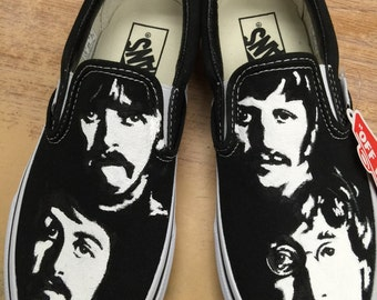 Custom painted shoes of the Beatles.