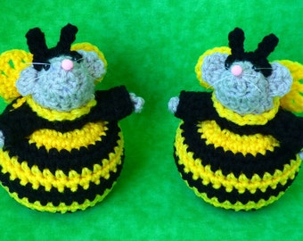 Crochet Bumble Bee Mice Set Of 2 Party Favors Spring Decor Insect
