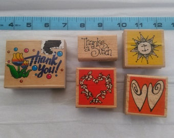 Thank You Rubber Stamp Lot of 5 Rubber Stamps for Making Cards and Scrapbooking