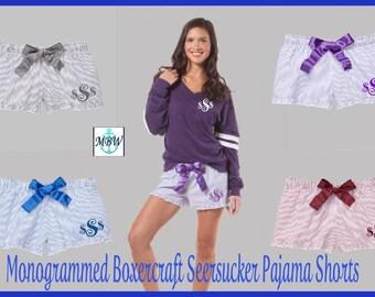 Monogrammed Pajama Shorts,Monogrammed Seersucker Pajama Shorts,Seersucker Shorts,Greek Boxers, Sorority Boxers,monogrammed pajama shorts-f02