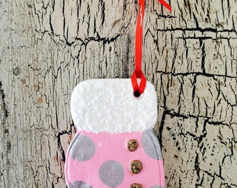 Christmas Ornament: Pink Mitten with Silver Spots