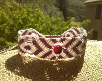Acai seed macrame bracelet pink