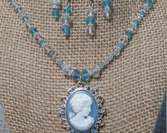 Cameo Necklace and Earring Set, Crystal Necklace and Earring Set