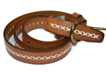 "Fossil,  Leather Belt, Size 28"", Small, Brass Buckle Belts,"