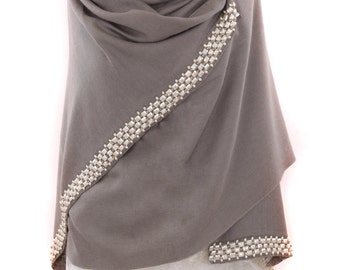 Pure Cashmere Pashmina With Cabochon Crystals
