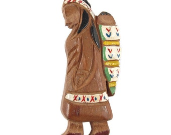 Vintage Hand Carved & Painted Wooden Native American Indian Brooch