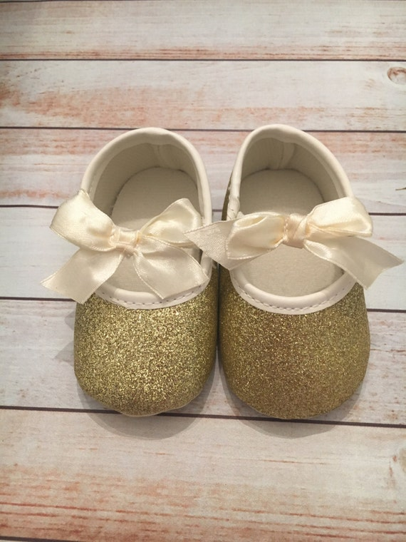 FREE SHIPPING Light Gold Gold Shoes Baby Glitter Shoes