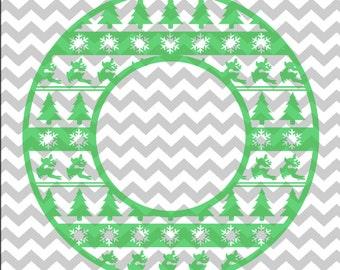 Christmas Monogram Circle, Christmas, Reindeer, Snowflake, Christmas Tree, .SVG/.PNG/.EPS File for Every Vinyl Cutting Machine