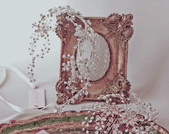 Crystal and Pearl Bridal Headband, Floral Double-banded Hair Vine, Rhinestone Wedding Headpiece